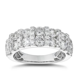 18ct White Gold 2ct Diamond Pave Set Two Rows Ring - Product number 4885198