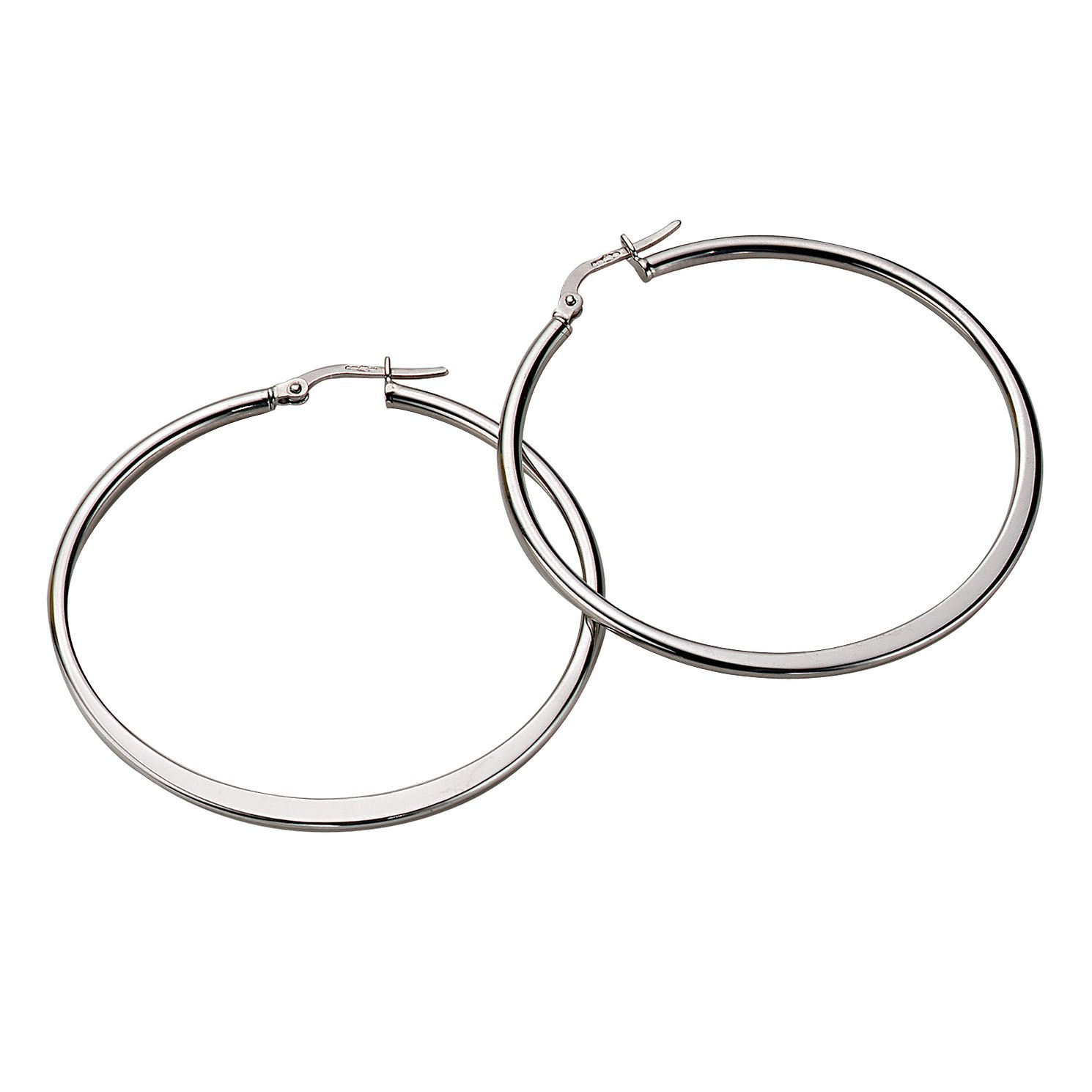 9ct White Gold Tapered 40mm Hoop Earrings - Product number 4885627