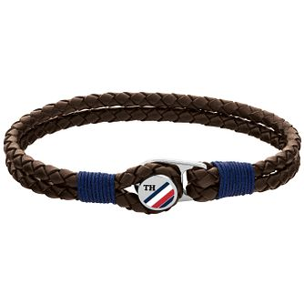 Tommy Hilfiger Men's Brown Leather Button Bracelet - Product number 4885899