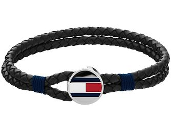 Tommy Hilfiger Black Leather Braided Strap Flag Bracelet - Product number 4885902