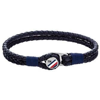 Tommy Hilfiger Men's Blue Leather Button Bracelet - Product number 4886089