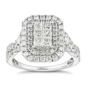 18ct White Gold 1.25ct Diamond Princess Double Halo Ring - Product number 4886453