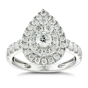 18ct White Gold 1.25ct Diamond Pear Double Halo Ring - Product number 4886593