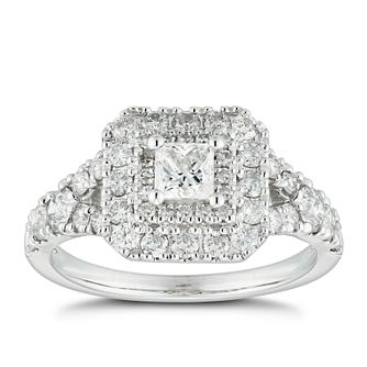 18ct White Gold 1.25ct Diamond Princess Double Halo Ring - Product number 4887093