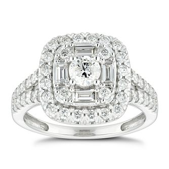 18ct White Gold 1ct Diamond Mix Cut Double Halo Ring - Product number 4887255