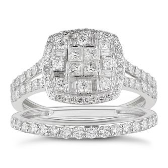 18ct White Gold 1ct Total Diamond Cushion Bridal Set - Product number 4887395