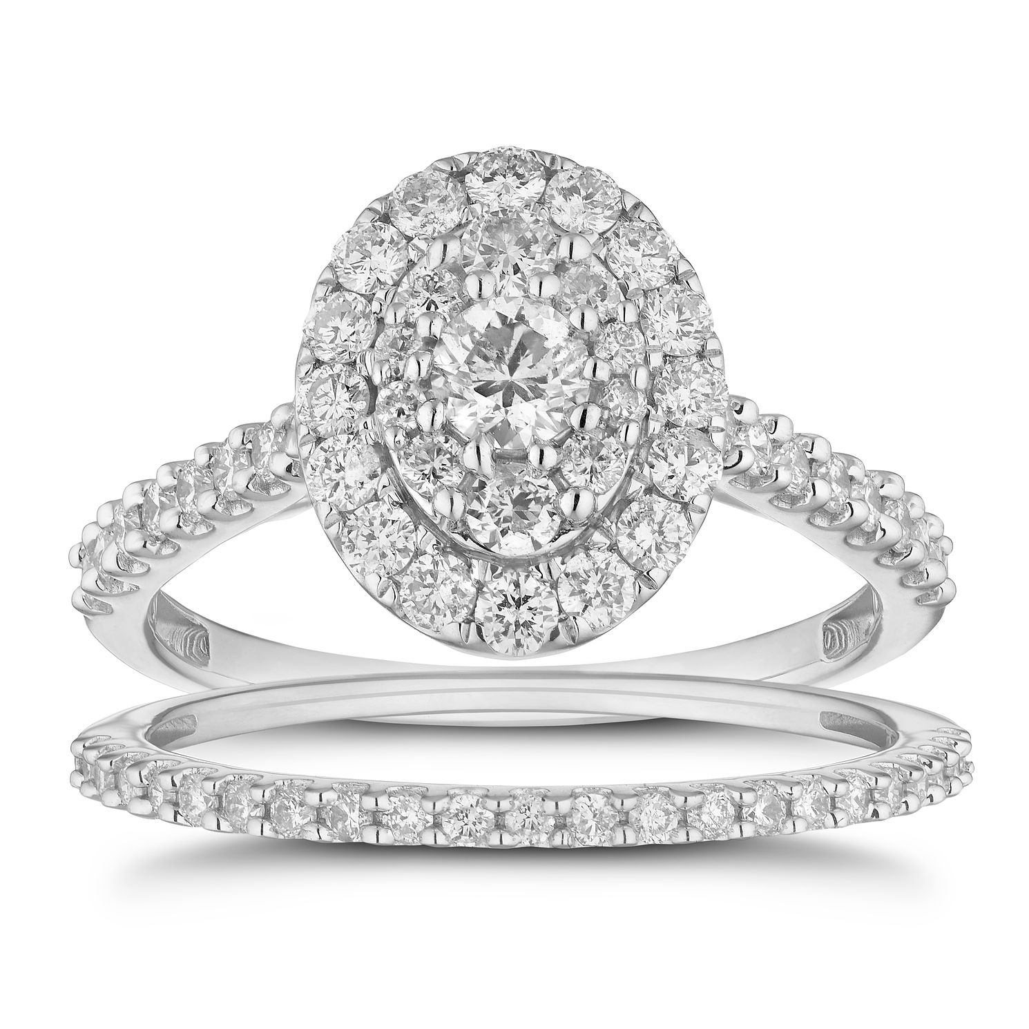 18ct White Gold 1ct Total Diamond Oval Bridal Set - Product number 4887522