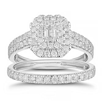 18ct White Gold 1ct Total Diamond Emerald Cut Bridal Set - Product number 4887670
