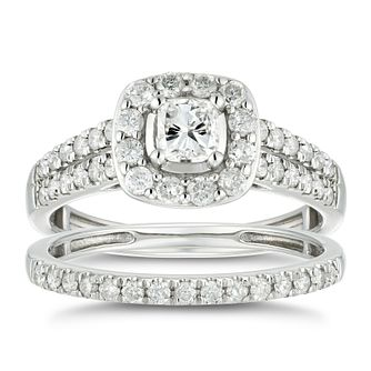 Platinum 1ct Total Diamond Cushion Bridal Set - Product number 4887883