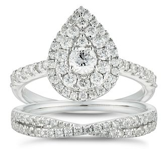 18ct White Gold 1ct Diamond Pear Bridal Set - Product number 4888022