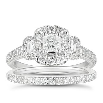 Platinum 1ct Total Diamond Radiant Halo Bridal Set - Product number 4889282