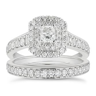 Platinum 1ct Total Diamond Radiant Cut Halo Bridal Set - Product number 4889665