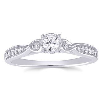 9ct White Gold 1/4ct Diamond Intertwining Shoulders Ring - Product number 4890094