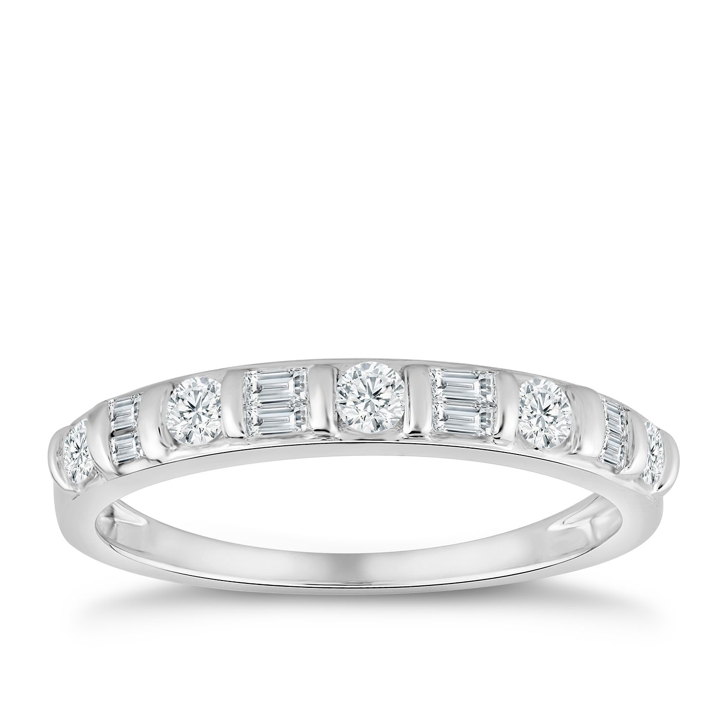 9ct White Gold 1/3ct Diamond Mix-Cut Eternity Ring - Product number 4890213