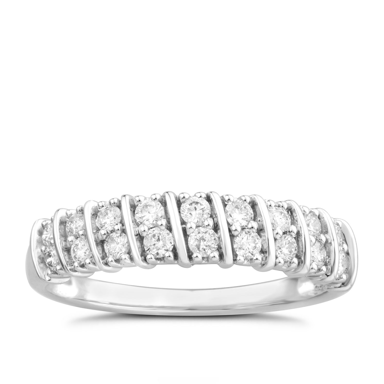 9ct White Gold 1/3ct Diamond Diagonal Duo Eternity Ring - Product number 4890531