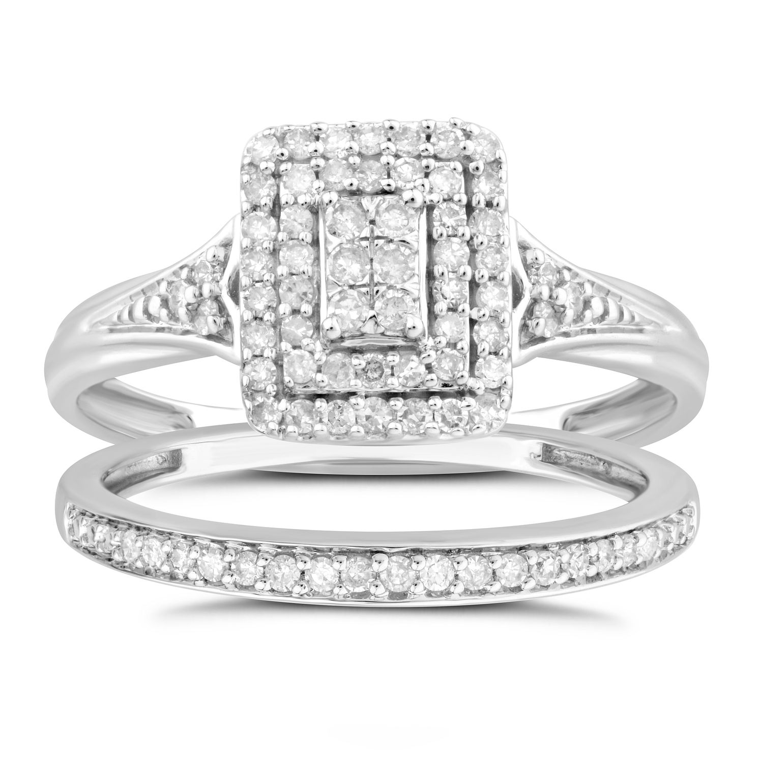 Perfect Fit 9ct White Gold 1/3ct Diamond Cushion Bridal Set - Product number 4890671