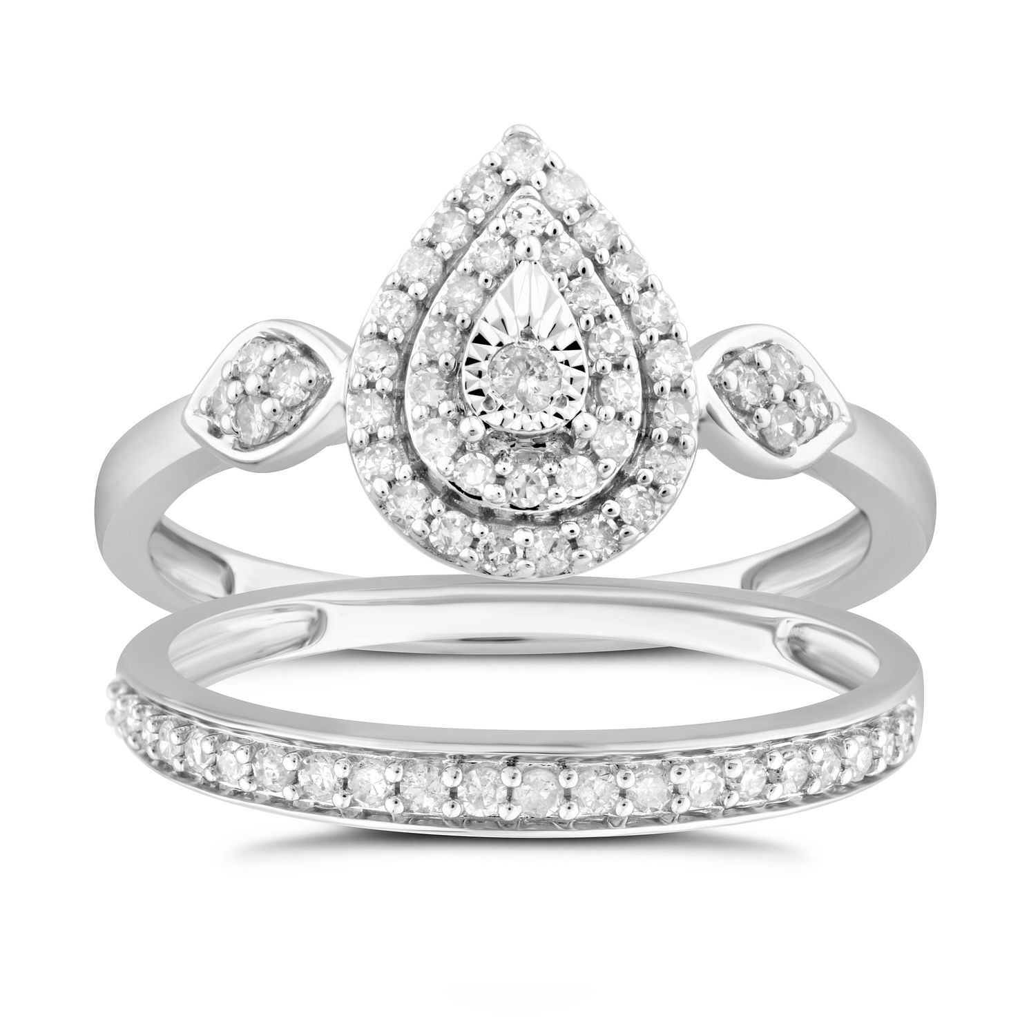 Perfect Fit 9ct White Gold 1/3ct Diamond Pear Ring Set - Product number 4890825