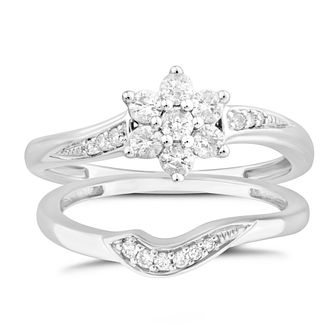 Perfect Fit 9ct White Gold 1/3ct Diamond Floral Bridal Set - Product number 4890957