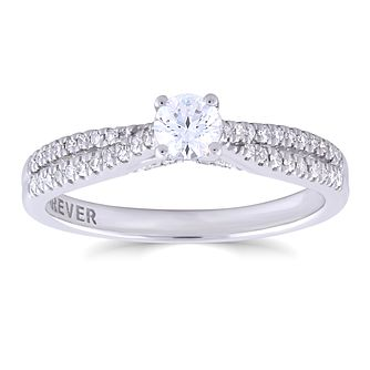18ct White Gold 2/5ct Forever Diamond Crossover Ring - Product number 4891112