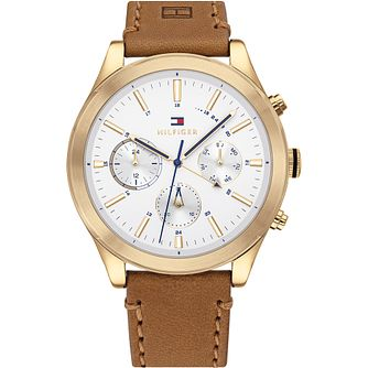 Tommy Hilfiger Day & Date Tan Leather Strap Watch - Product number 4892151