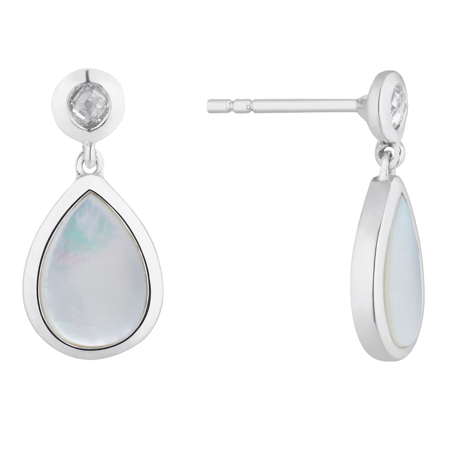 Sterling Silver Mother of Pearl Pear Drop Earrings - Product number 4892356