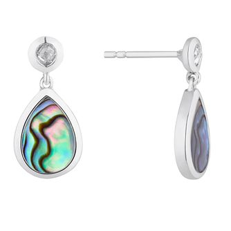Sterling Silver Abalone Pear Drop Earrings - Product number 4892437