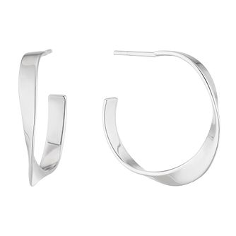 Sterling Silver Twisted Hoop Earrings - Product number 4892585