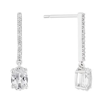 Sterling Silver Cubic Zirconia Bar Drop Earrings - Product number 4892666