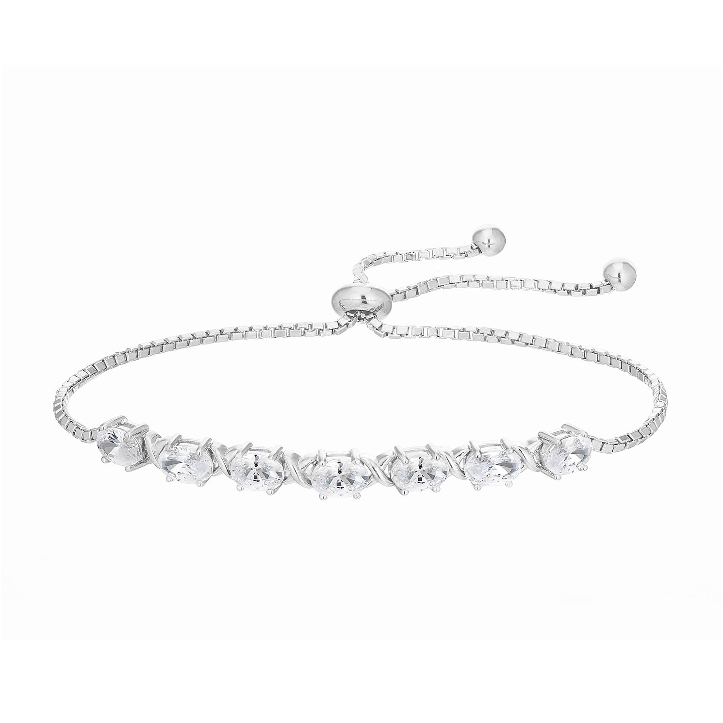 Sterling Silver Cubic Zirconia Oval Stone Bracelet - Product number 4892674