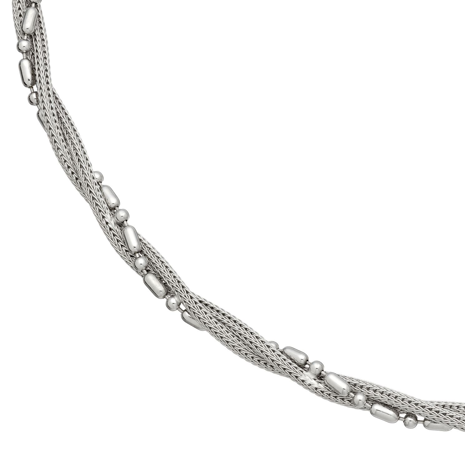 Sterling Silver Beaded Twist Necklace - Product number 4893085