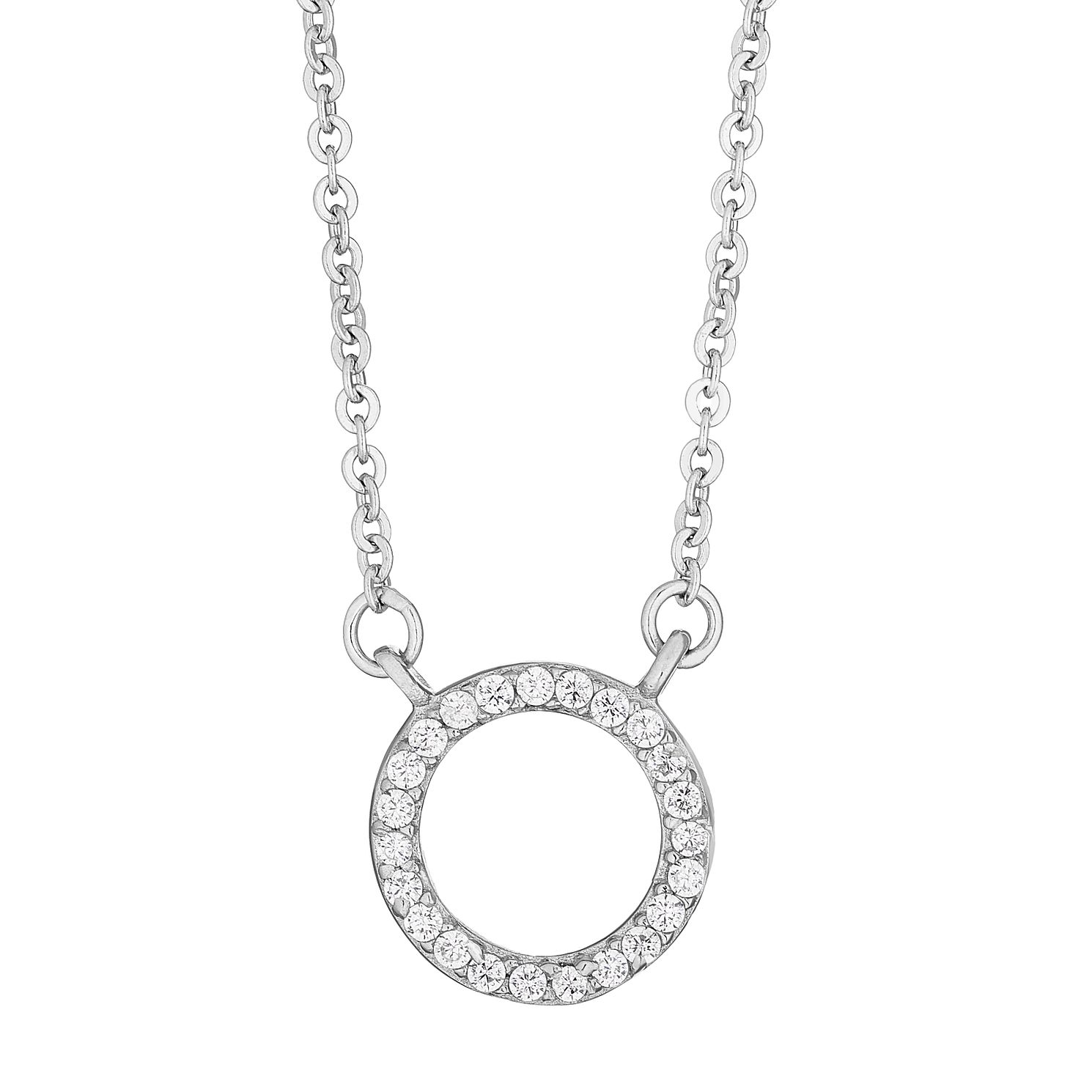 Silver Cubic Zirconia Circle Pendant - Product number 4893271