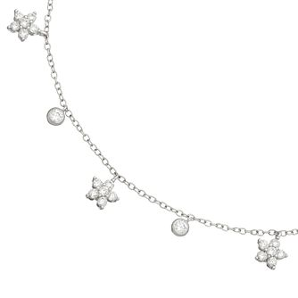 Silver Cubic Zirconia Flower Anklet - Product number 4893972