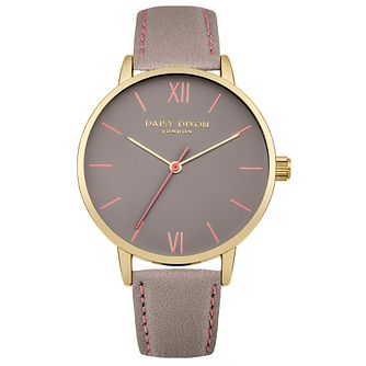 Daisy Dixon Annie Ladies' Grey Leather Strap Watch - Product number 4896793