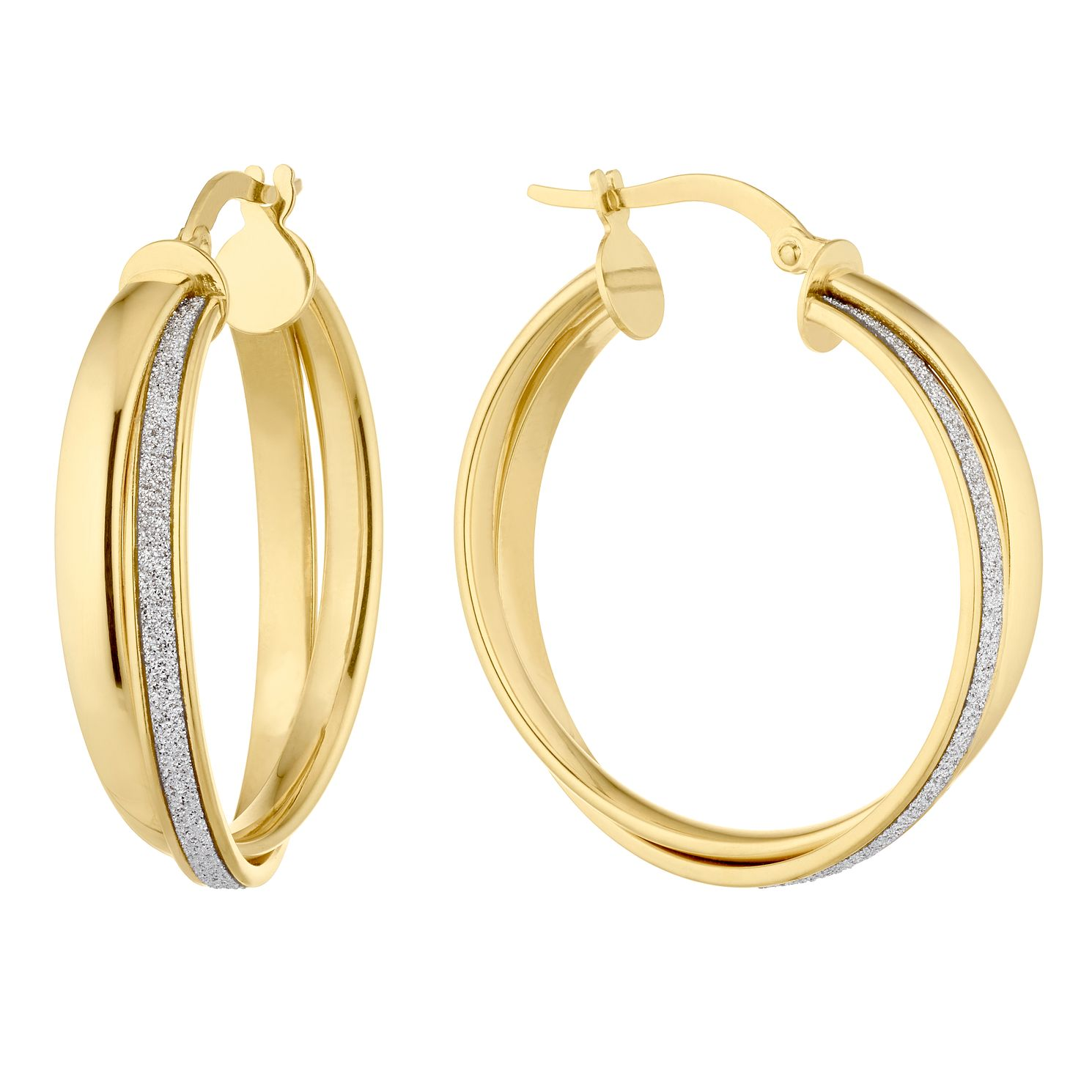 9ct Yellow Gold Sparkle Hoop Earrings - Product number 4897188