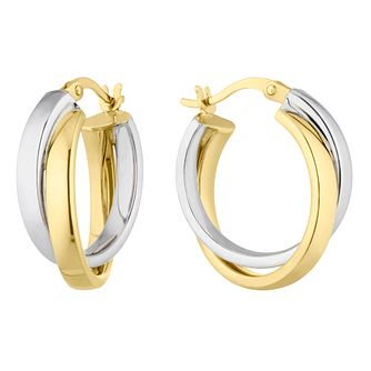 9ct Yellow & White Gold Creole Double Hoop Earrings - Product number 4897242