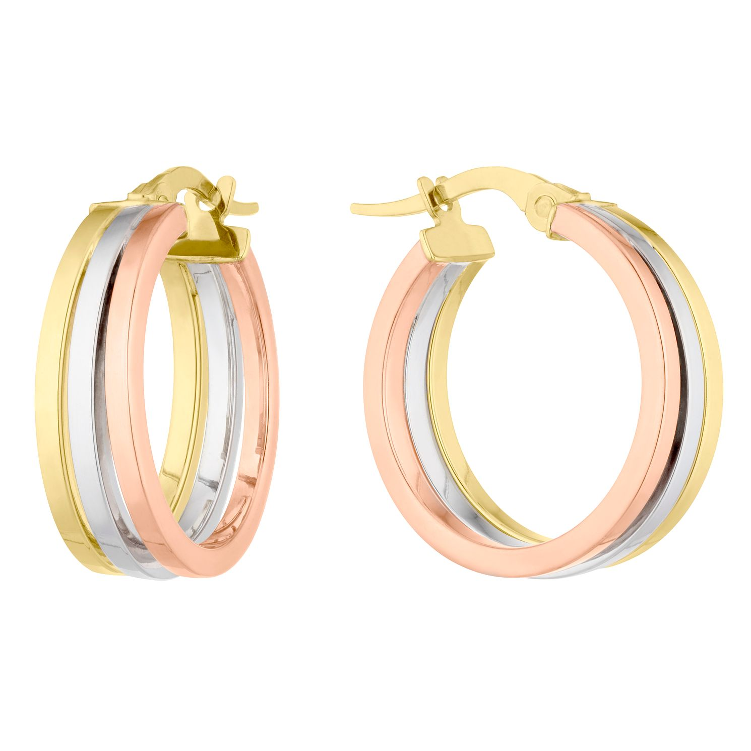 9ct Three Colour Gold Hoop Earrings - Product number 4897315