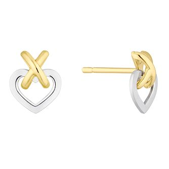 9ct Yellow & White Gold Kiss & Heart Stud Earrings - Product number 4897331