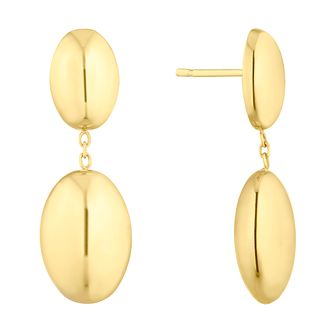 9ct Yellow Gold Double Oval Drop Earrings - Product number 4897358