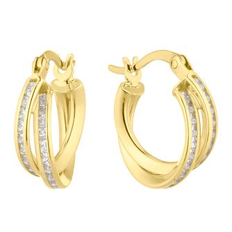 9ct Yellow Gold Channel Set CZ Double Row Hoop Earrings - Product number 4897366