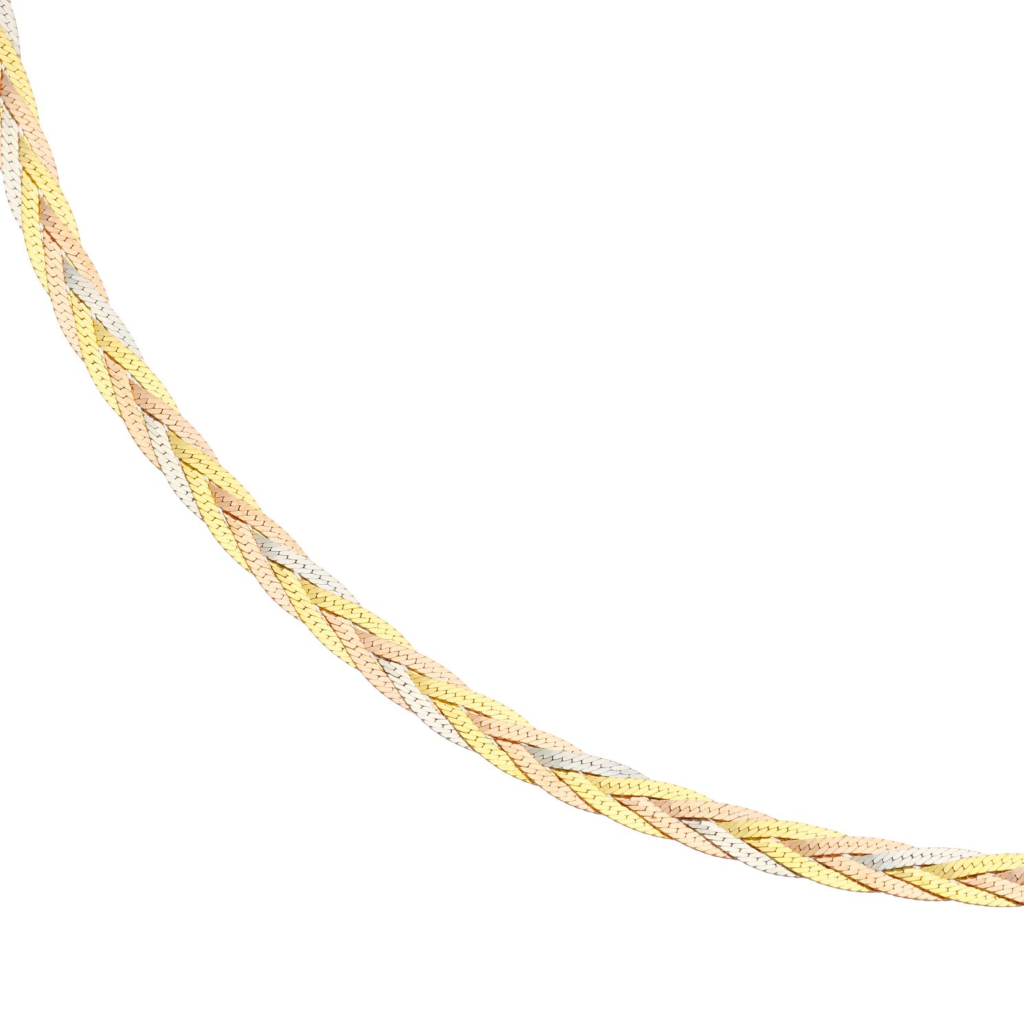 9ct Three Colour Gold Plaited Chain Necklace - Product number 4898249