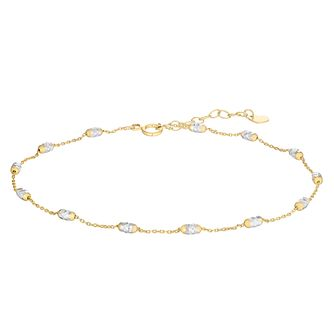 Ladies 9ct Gold Two Tone Station Anklet - Product number 4898273