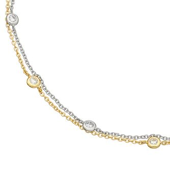 9ct Two Colour Gold Cubic Zirconia Two Strand Anklet - Product number 4898281