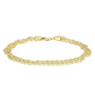 Ladies 9ct Gold Diamond-Cut Three-Str& Bead Bracelet - Product number 4898370