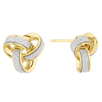 9ct Yellow Gold Sparkle Knot Stud Earrings - Product number 4898435