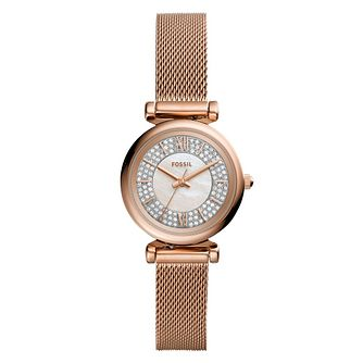 Fossil Ladies' Rose Gold Tone Crystal Bracelet Watch - Product number 4898540