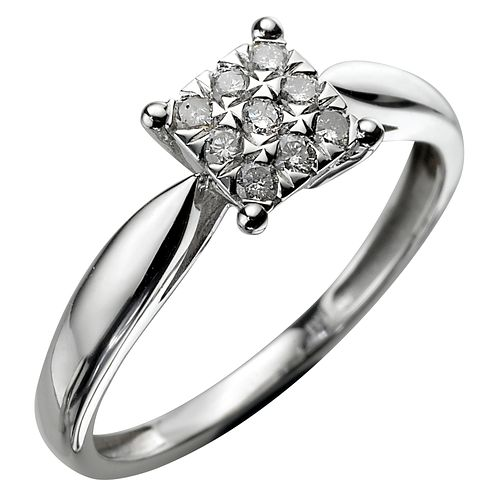 9ct White Gold 15 Points Ring - Product number 4898567