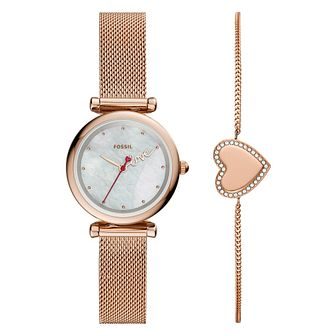 Fossil Ladies' Rose Gold Tone Watch & Bracelet Gift Set - Product number 4899083