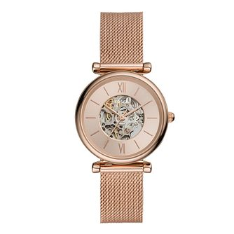 Fossil Ladies' Rose Gold Tone Skeleton Bracelet Watch - Product number 4899091