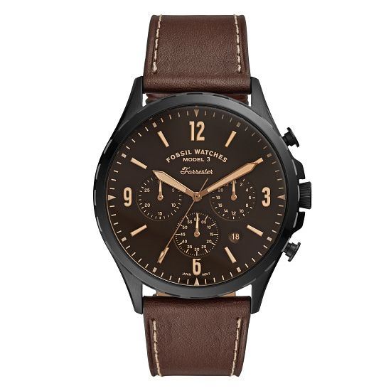 Fossil Forrester Men's Brown Leather Strap Watch - Product number 4899148