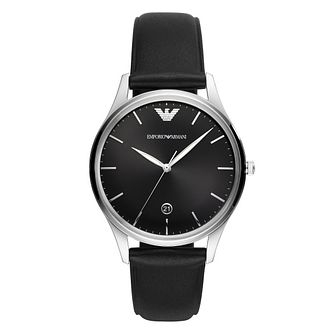 Emporio Armani Men's Black Leather Strap Watch - Product number 4900464